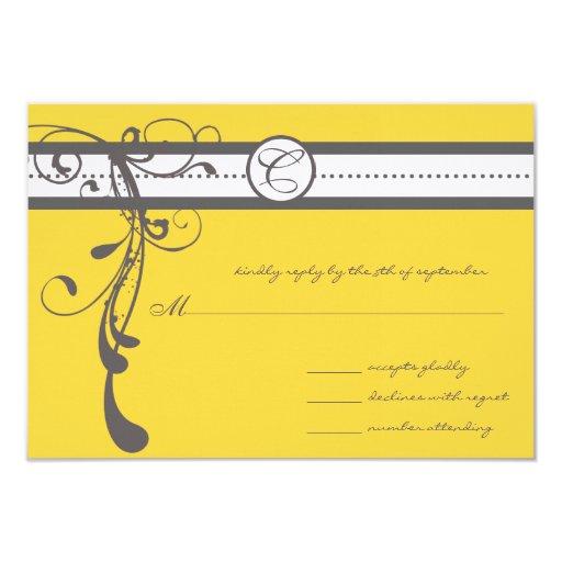 "Charcoal Grey Swirls Bight Yellow Wedding RSVP 3.5"" X 5"" Invitation Card"