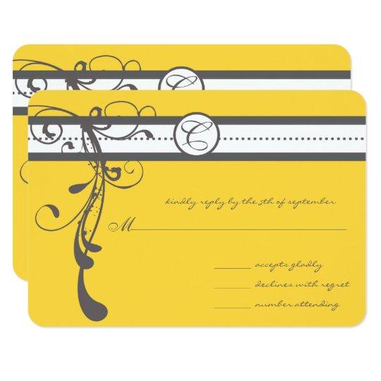 Charcoal Grey Swirls Bight Yellow Wedding RSVP Card