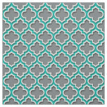 Charcoal Grey Teal White Moroccan Quatrefoil #5DS Fabric