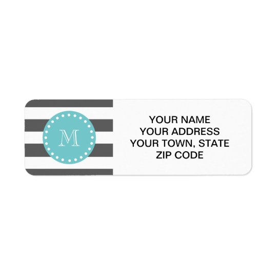 Charcoal Grey White Stripes Pattern, Teal Monogram Return Address Label