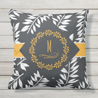 Charcoal Grey with Golden Accents and Monogram Outdoor Pillow