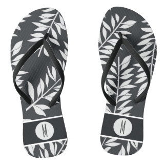 Charcoal Grey with White Cabana with Monogram Flip Flops