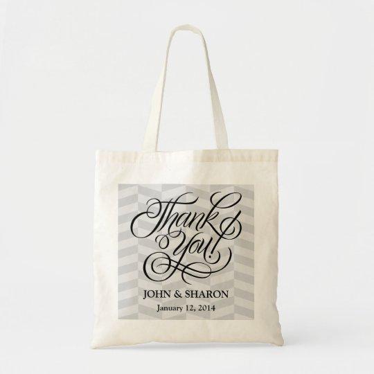 Charcoal Herringbone Wedding Favour Bag - Thank