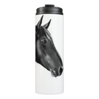 Charcoal Horse Portrait Thermal Tumbler