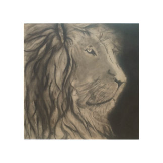 "Charcoal Lion 8""x8"" Wood Wall Art"