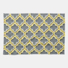 Charcoal Pineapple White Moroccan Quatrefoil #5DS Kitchen Towel