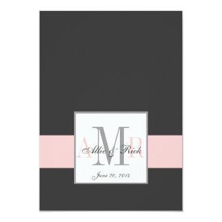 Charcoal Pink Monograms Wedding Invitation