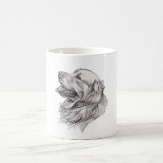 Charcoal portrait drawing of a Golden Retriever Coffee Mug