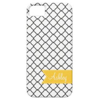 Charcoal Quatre Foil with Custom Monogram Ribbon iPhone 5 Cases