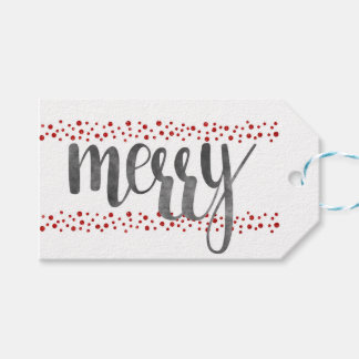 Charcoal & red sparkle Christmas gift tags