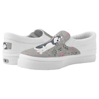 Charcoal Siberian Husky Slip-On Sneakers