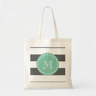 Charcoal Stripes Pattern, Mint Green Monogram Tote Bag
