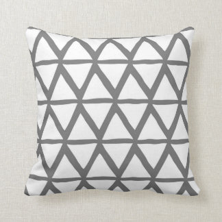 Charcoal Triangles Geometric Decorative Pillow