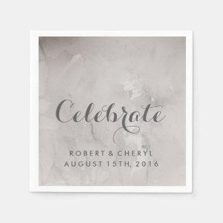 Charcoal Watercolor Celebrate Wedding Napkins Paper Napkins