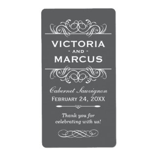 Charcoal Wedding Wine Bottle Monogram Favor Labels