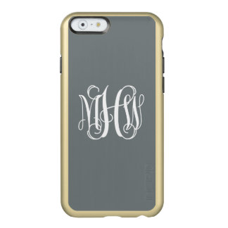 Charcoal White 3 Initials Vine Script Monogram Incipio Feather® Shine iPhone 6 Case