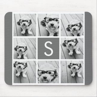 Charcoal White 8 Photo Collage Custom Monogram Mouse Pad