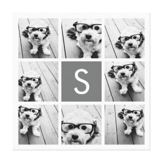 Charcoal White 8 Photo Collage Custom Monogram Stretched Canvas Print