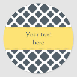 Charcoal, White and Yellow Quatrefoil Pattern Classic Round Sticker