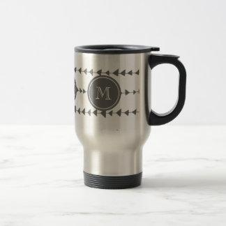 Charcoal White Aztec Arrows Monogram Travel Mug