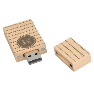 Charcoal White Aztec Arrows Monogram Wood USB Flash Drive