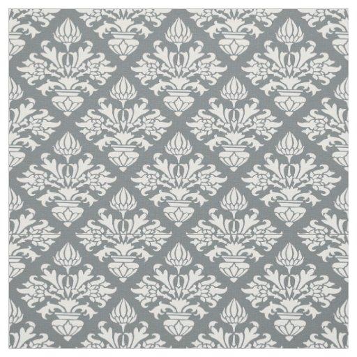Charcoal, White Pattern Damask #3 Size6 Fabric