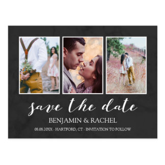 Charcoal & White Save the Date Photo Collage Postcard