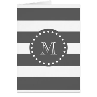Charcoal White Stripes Pattern, Your Monogram Card