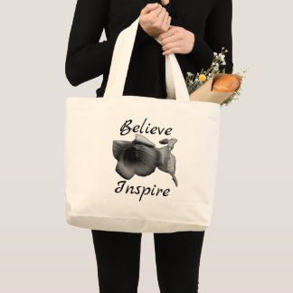 Charcoal Wildflower Large Tote Bag