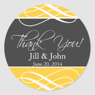 Charcoal Yellow Thank You Favor Labels Wedding