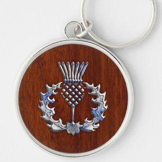Chardon écossais en bois élégant de chrome et porte-clé rond argenté
