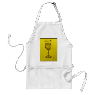 CHARDONNAY IN BLACK AND GOLD PRINT by jill Standard Apron