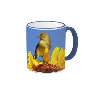 Chardonneret américain sur le tournesol tasse à café