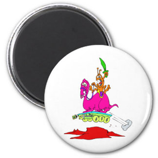 Charge!  cowboy alien on rover 2 inch round magnet