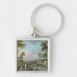 Charge of Prince of Lambesc  in Tuileries Silver-Colored Square Keychain