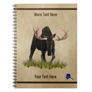 Charging Bull Moose On Old Paper Notebooks