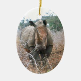 Charging Rhino Ceramic Oval Ornament