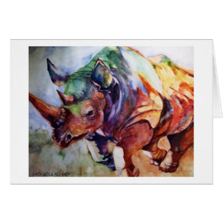 Charging Rhino Watercolor by Michaela Rohrer Card
