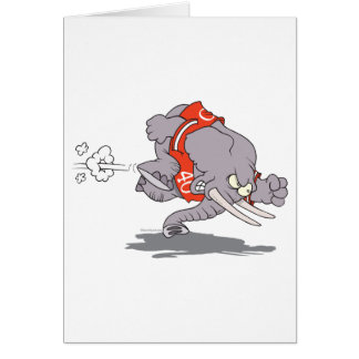 charging sporty elephant cartoon card