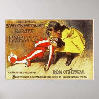 Charitable Bazaar of Dolls Russia- L.S. Bakst 1899 Poster