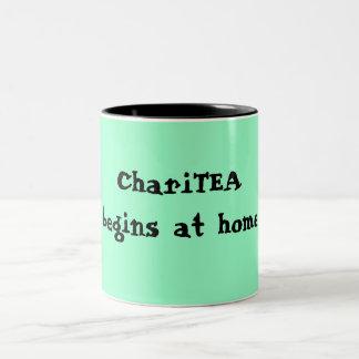 ChariTEA begins at home Two-Tone Coffee Mug