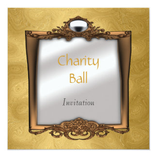 """Charity Ball Gold Invitation 5.25"""" Square Invitation Card"""