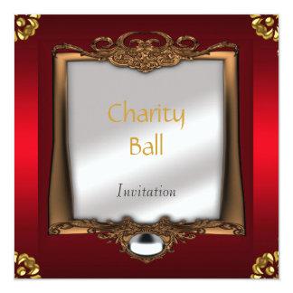 """Charity Ball Red Invitation 5.25"""" Square Invitation Card"""