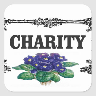 charity blue flowers square sticker