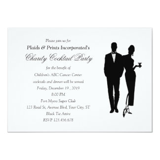 "Charity Dinner Black Tie Event 4.5"" X 6.25"" Invitation Card"