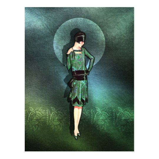 Charla - 1920s Fashion in Sage, Green and Aqua Postcard