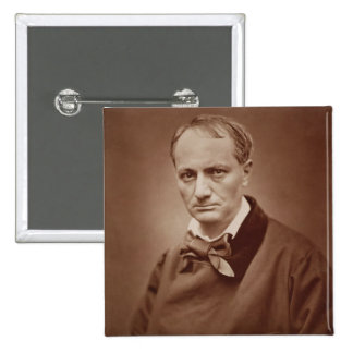 Charles Baudelaire (1821-67), French poet, portrai 2 Inch Square Button