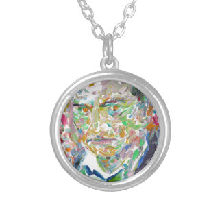 CHARLES BAUDELAIRE - oil portrait Silver Plated Necklace