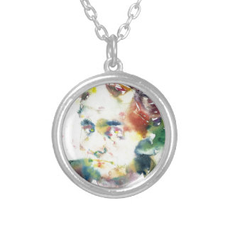 CHARLES BAUDELAIRE - watercolor portrait.1 Silver Plated Necklace