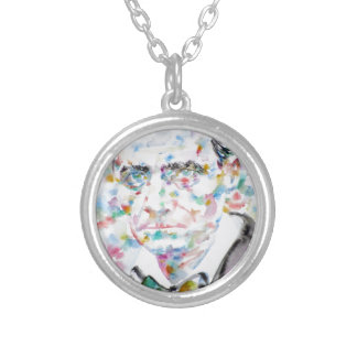 CHARLES BAUDELAIRE - watercolor portrait.2 Silver Plated Necklace